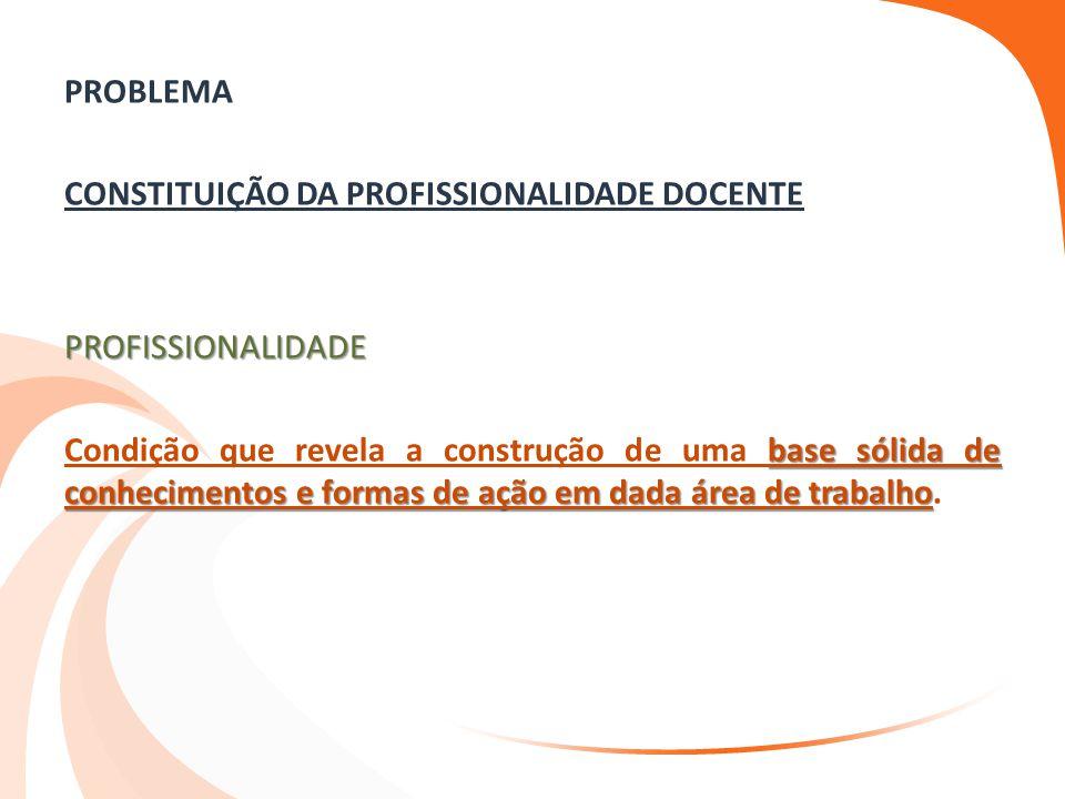 PROBLEMA CONSTITUIÇÃO DA PROFISSIONALIDADE DOCENTE PROFISSIONALIDADE Condição que revela a construção de uma base sólida de conhecimentos e formas de ação em dada área de trabalho.