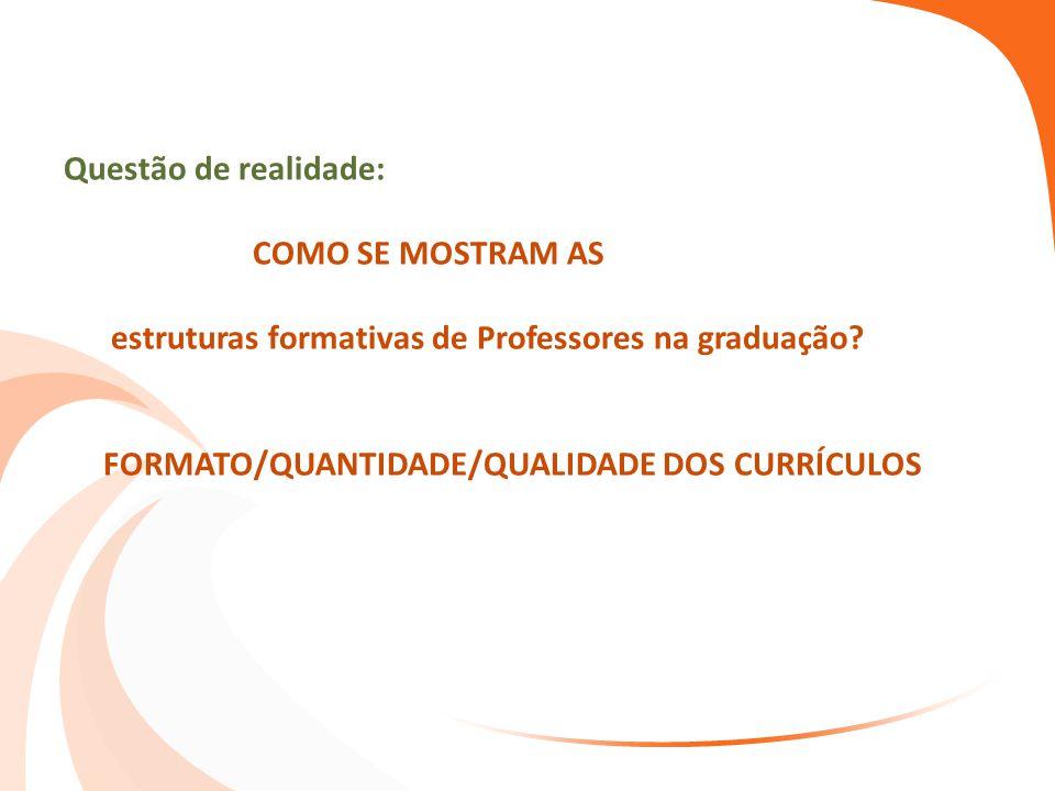 Questão de realidade: COMO SE MOSTRAM AS estruturas formativas de Professores na graduação.