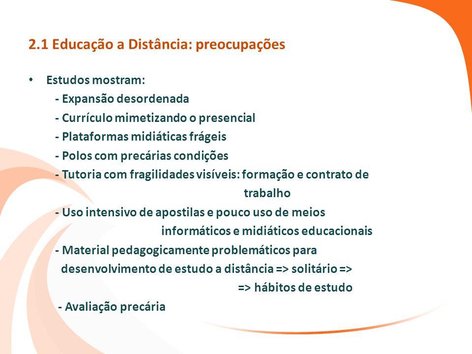 2.1 Educação a Distância: preocupações