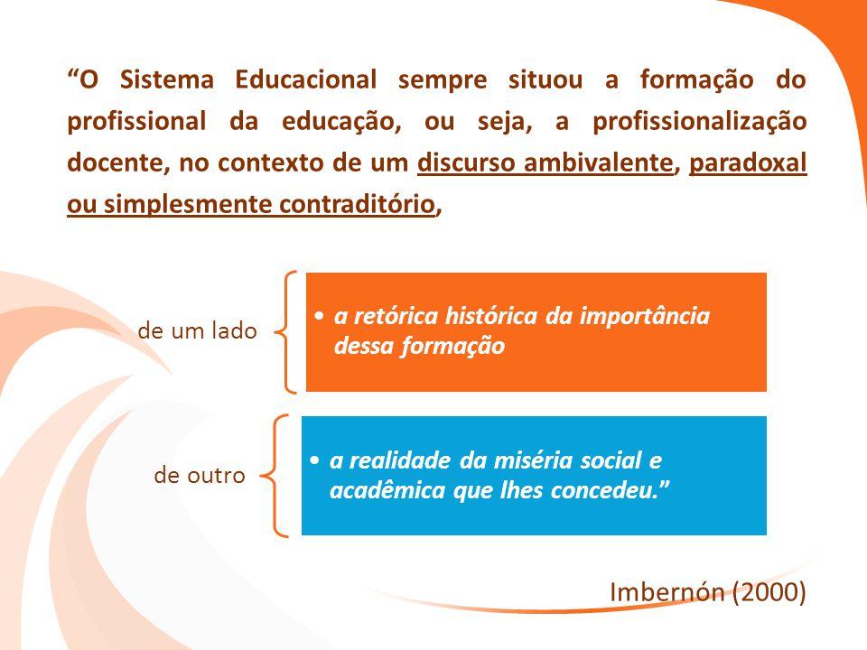 O Sistema Educacional sempre situou a formação do profissional da educação, ou seja, a profissionalização docente, no contexto de um discurso ambivalente, paradoxal ou simplesmente contraditório,