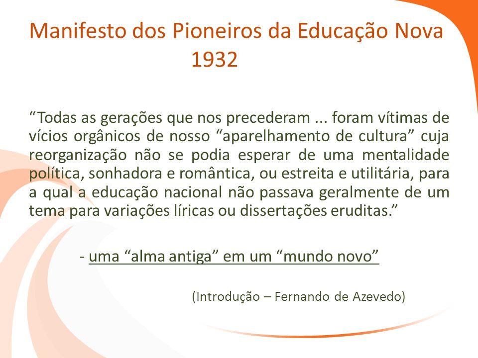 Manifesto dos Pioneiros da Educação Nova 1932