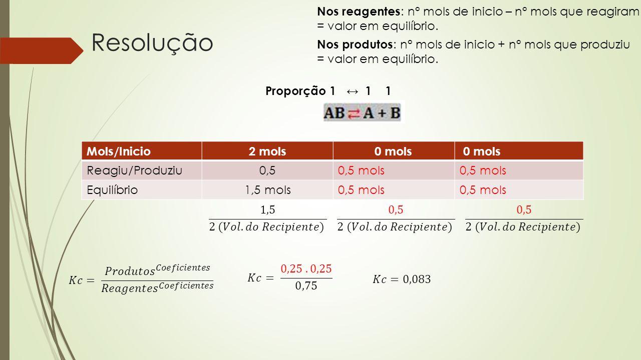 Nos reagentes: n° mols de inicio – n° mols que reagiram = valor em equilíbrio.