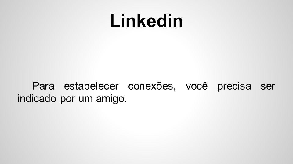 Linkedin A rede, não permite que pessoas aparentemente desconhecidas adicionem o seu perfilm e vice-e-versa.