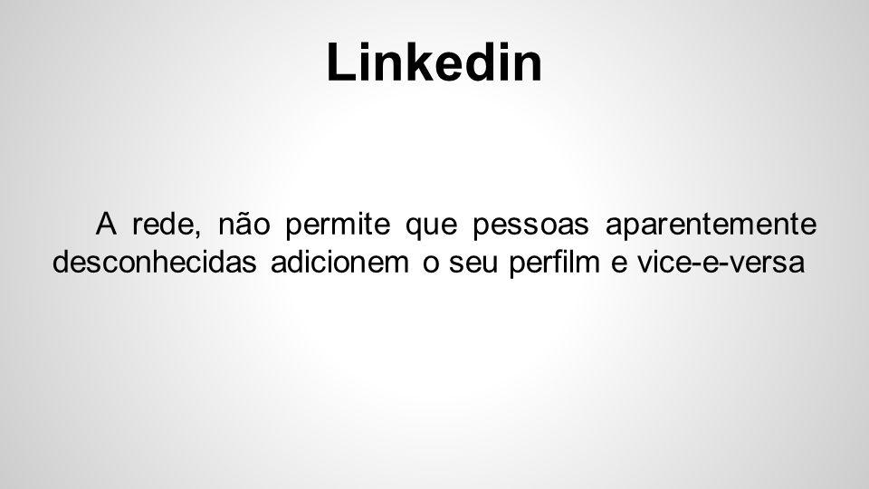 Linkedin O linkedin é considerado uma espécie de currículo profissional, ao qual consta sua posição atual.