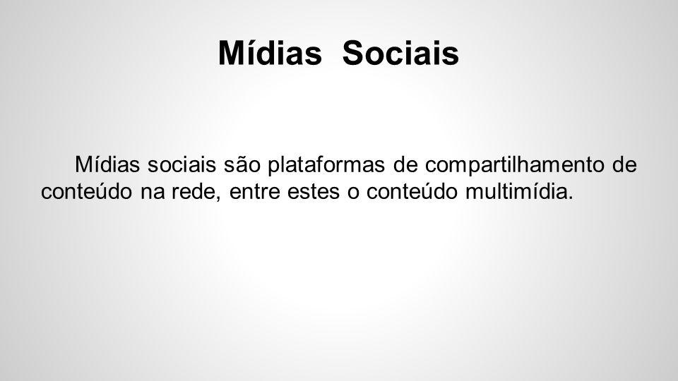 Mídias Sociais Dentro das plataformas midiáticas encontrasse as redes sociais.