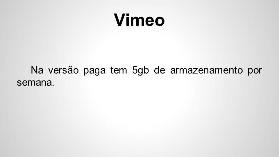 Vimeo Utilizado por empresas para a promoção de portfólio.