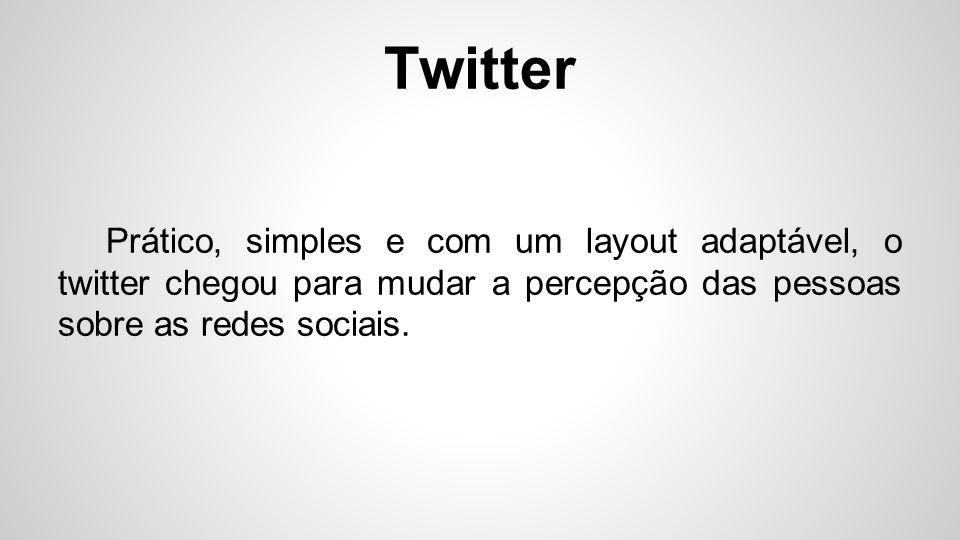 Twitter Intitulado de microblogging, ele satisfaz a necessidade de uma comunicação veloz e eficaz.