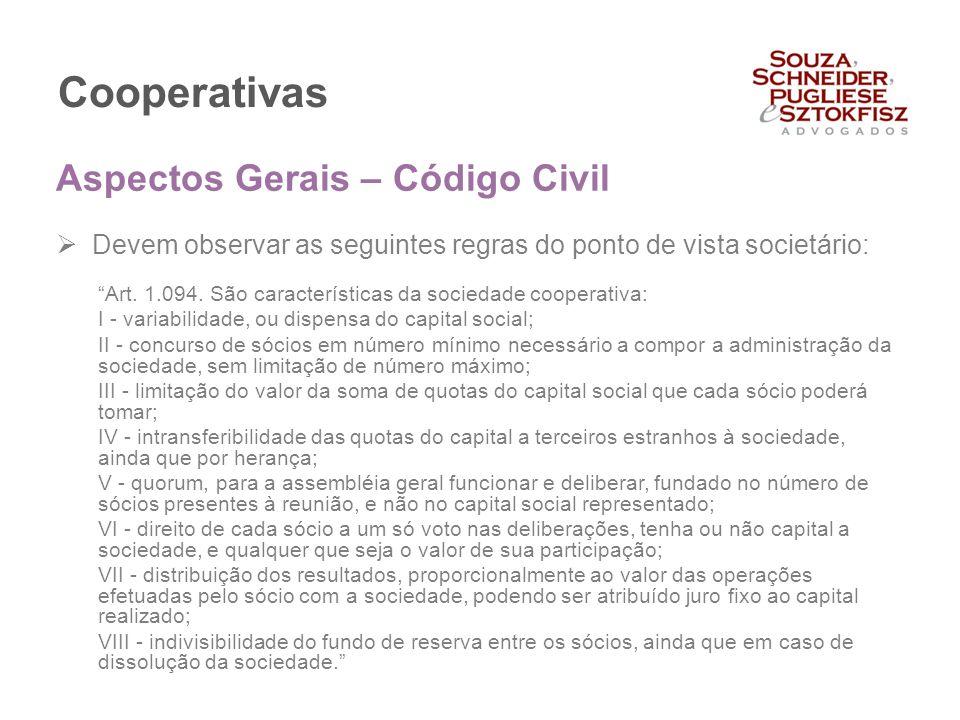 Cooperativas Aspectos Gerais – Código Civil