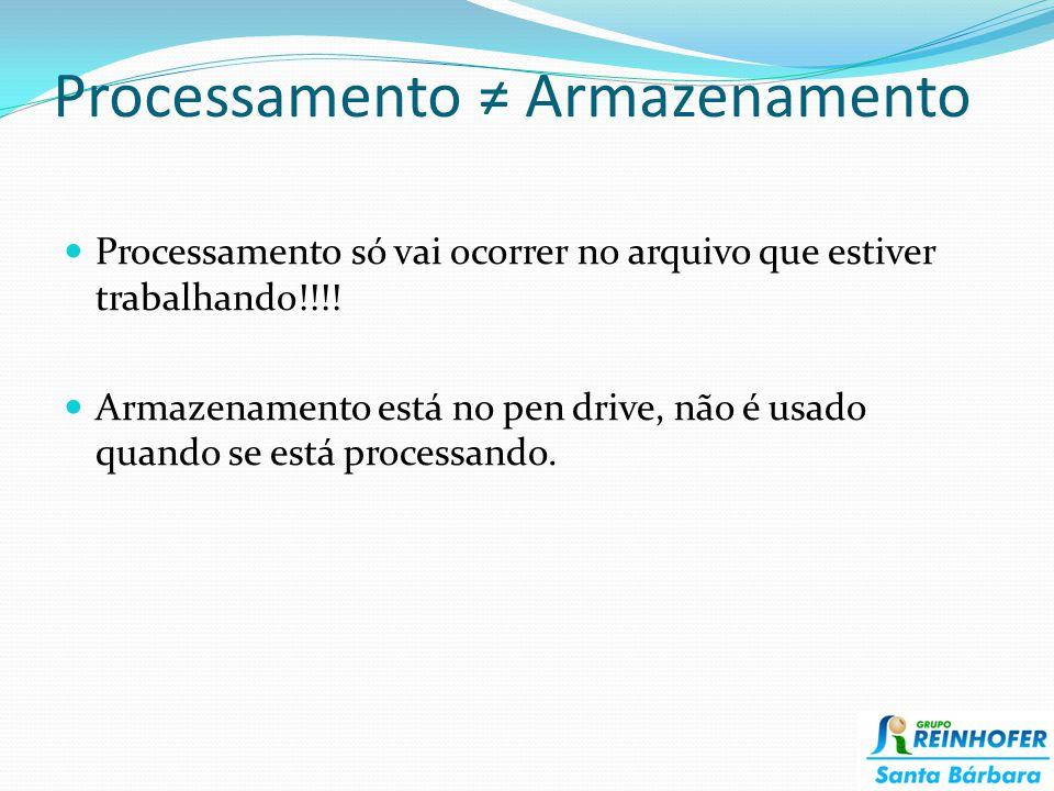 Processamento ≠ Armazenamento