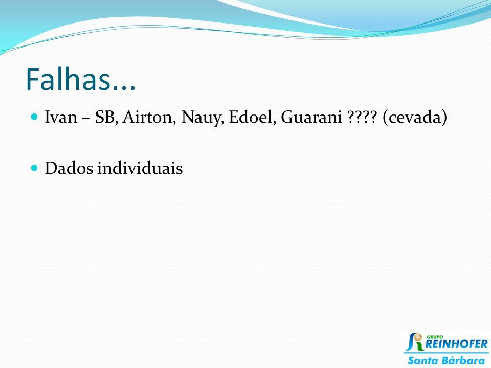 Falhas... Ivan – SB, Airton, Nauy, Edoel, Guarani (cevada)
