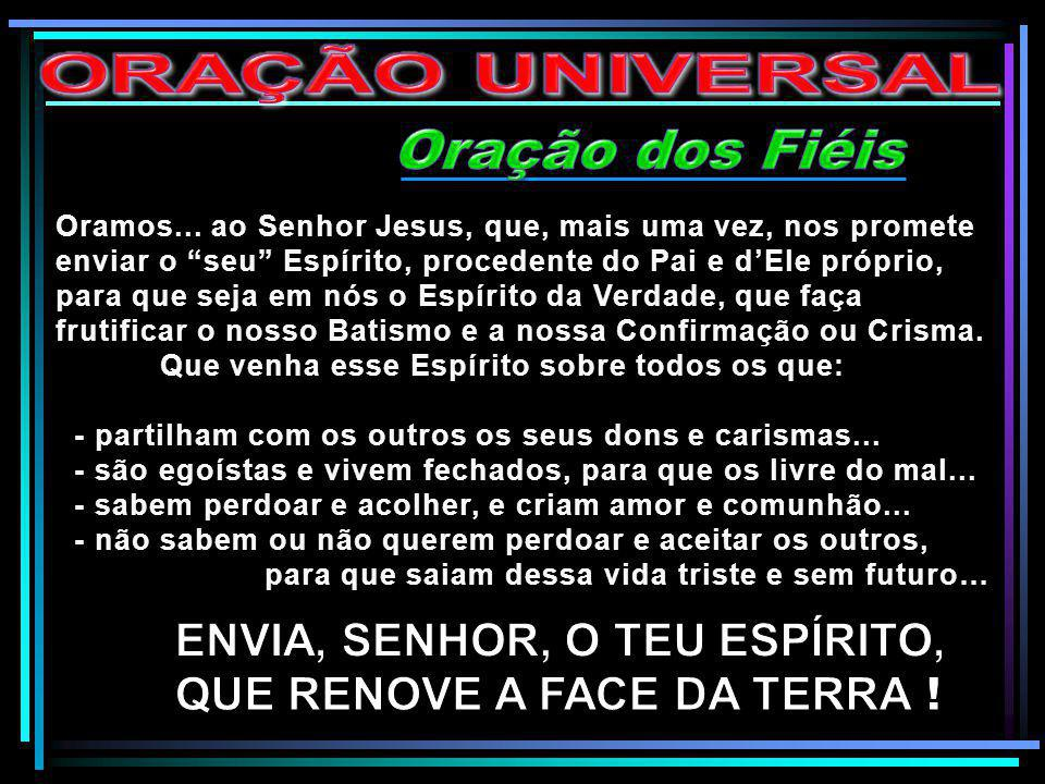 ENVIA, SENHOR, O TEU ESPÍRITO, QUE RENOVE A FACE DA TERRA !