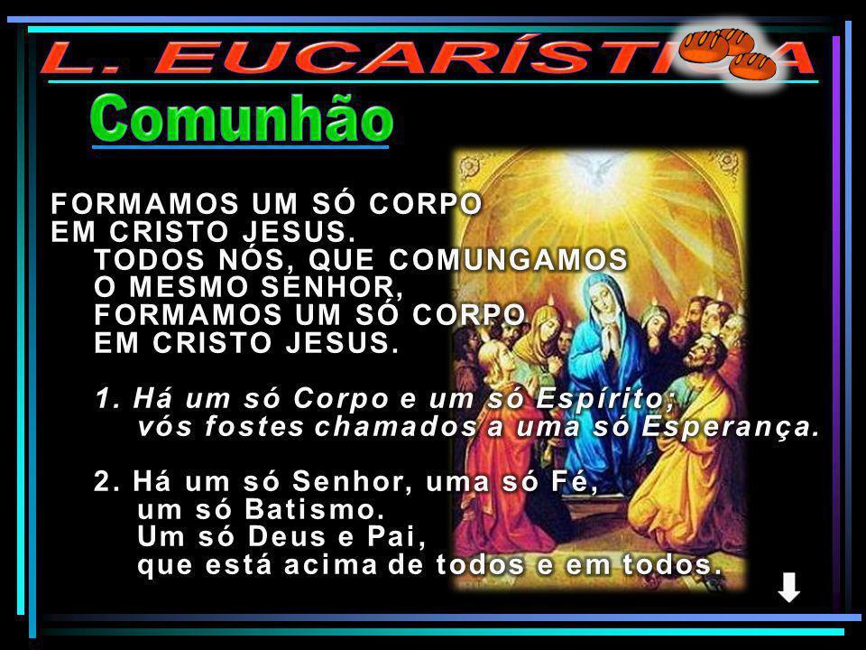 L. EUCARÍSTICA Comunhão FORMAMOS UM SÓ CORPO EM CRISTO JESUS.
