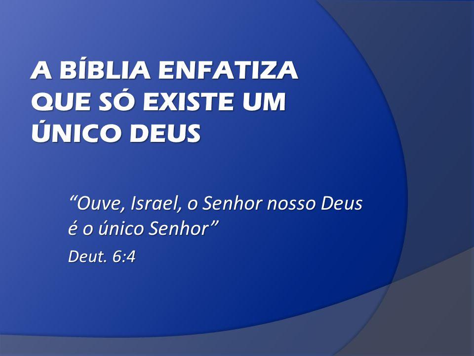 A BÍBLIA ENFATIZA QUE SÓ EXISTE UM ÚNICO DEUS