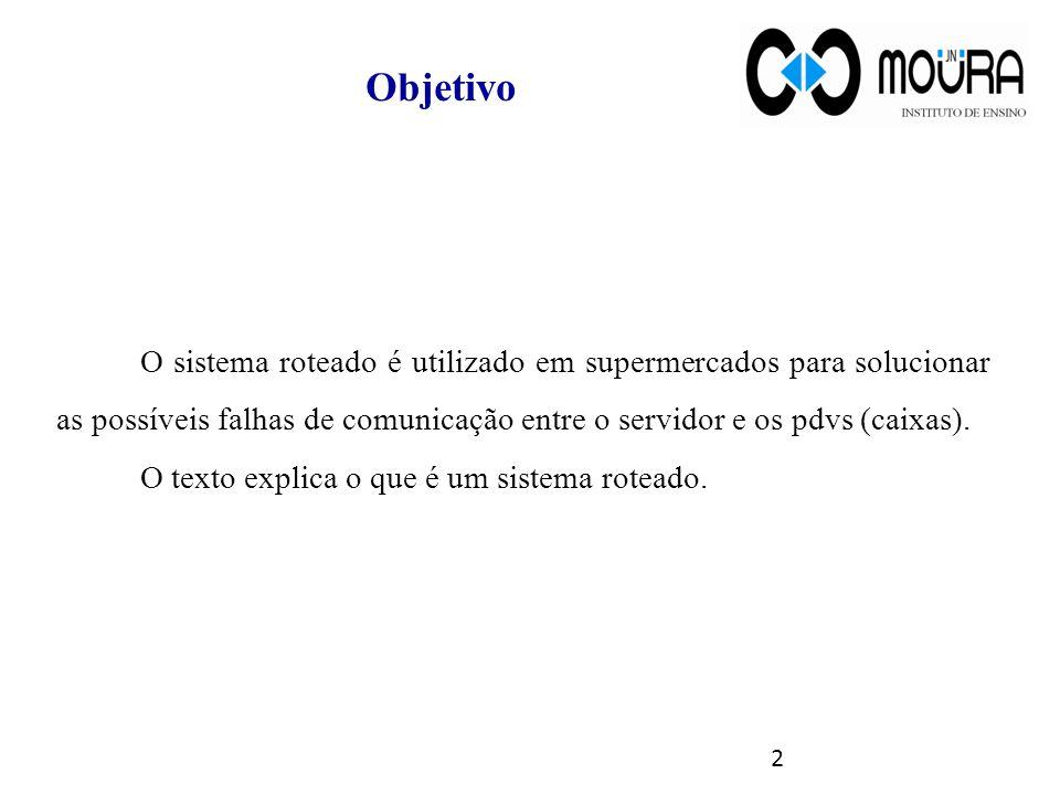 Objetivo O sistema roteado é utilizado em supermercados para solucionar as possíveis falhas de comunicação entre o servidor e os pdvs (caixas).