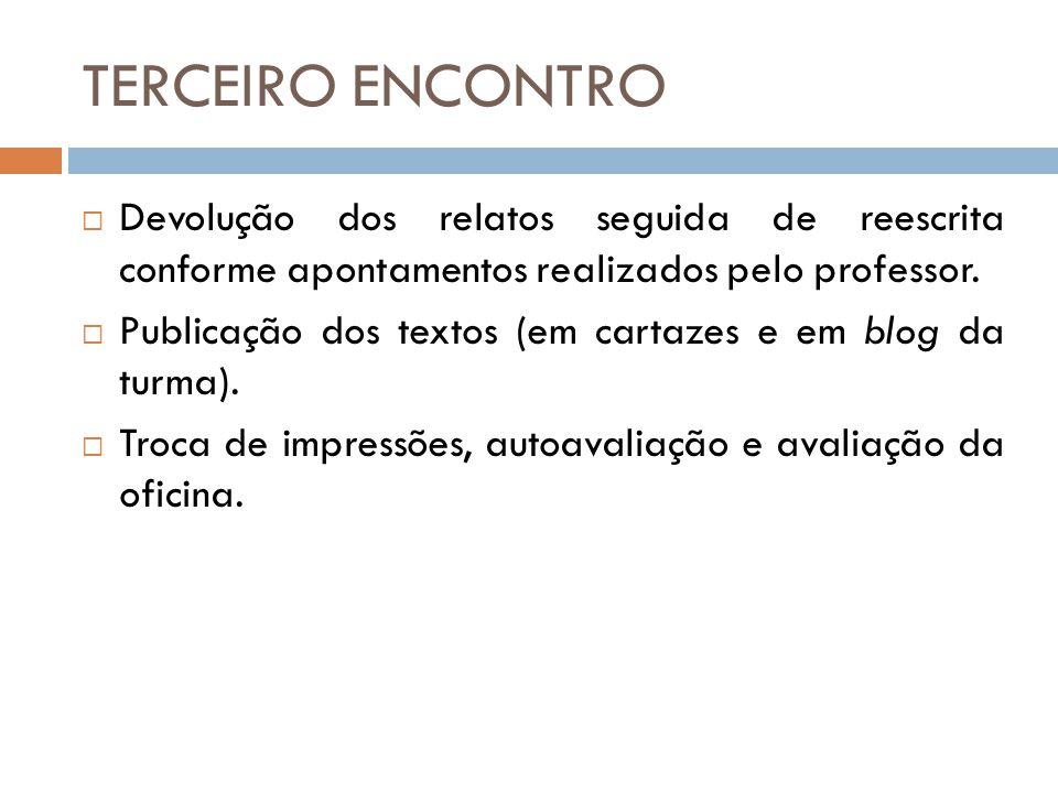TERCEIRO ENCONTRO Devolução dos relatos seguida de reescrita conforme apontamentos realizados pelo professor.