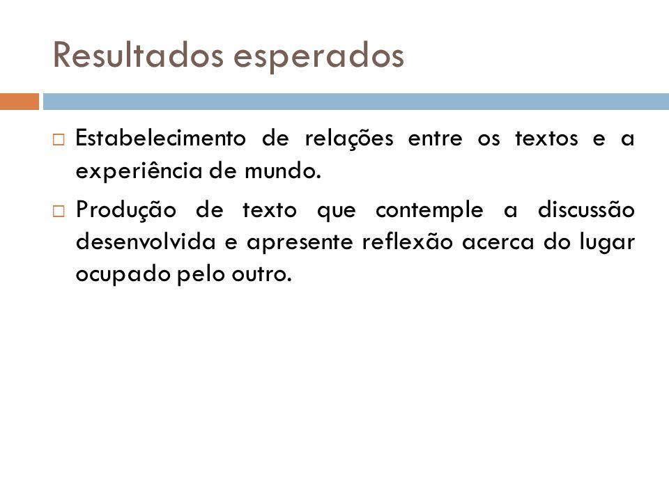 Resultados esperados Estabelecimento de relações entre os textos e a experiência de mundo.