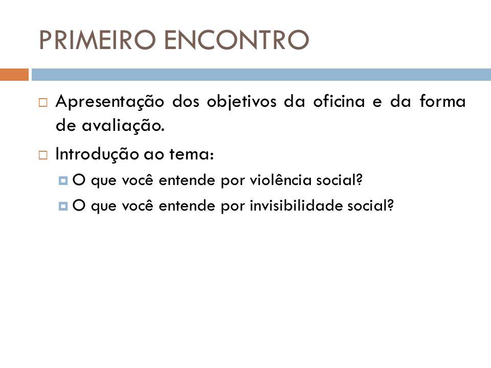 PRIMEIRO ENCONTRO Apresentação dos objetivos da oficina e da forma de avaliação. Introdução ao tema: