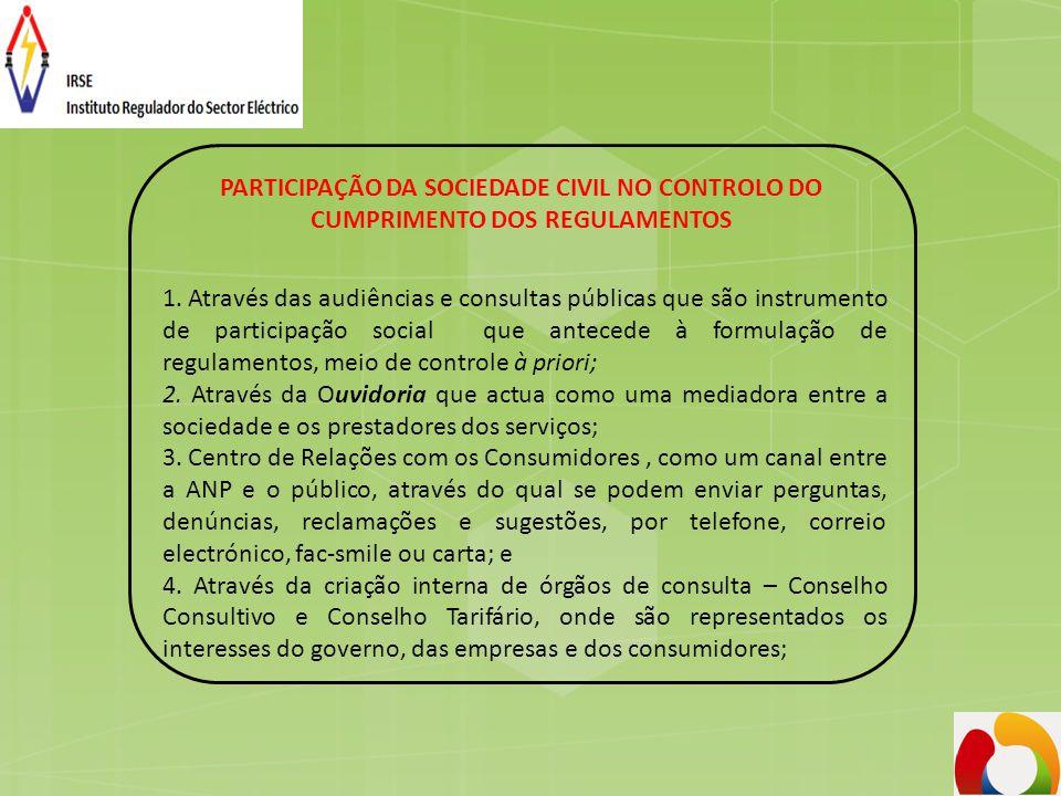 PARTICIPAÇÃO DA SOCIEDADE CIVIL NO CONTROLO DO CUMPRIMENTO DOS REGULAMENTOS