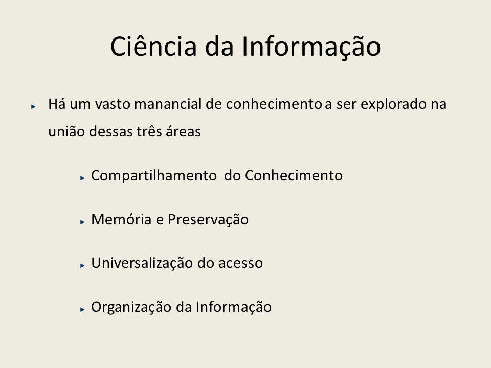Ciência da Informação Há um vasto manancial de conhecimento a ser explorado na união dessas três áreas.