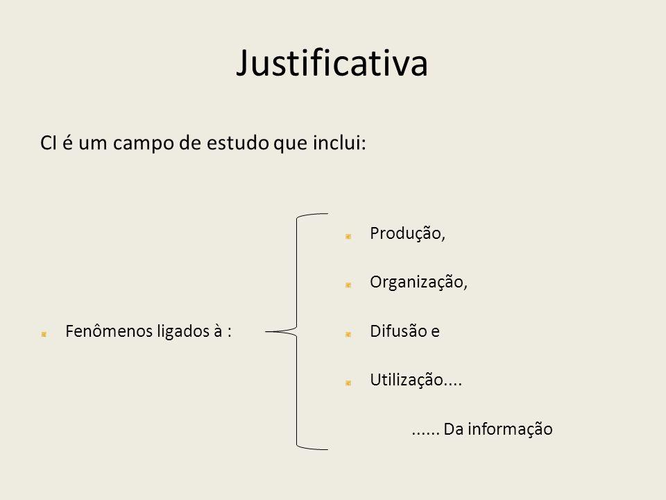 Justificativa CI é um campo de estudo que inclui: Produção,