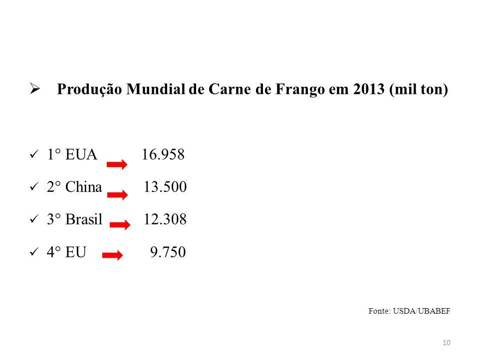 Produção Mundial de Carne de Frango em 2013 (mil ton)