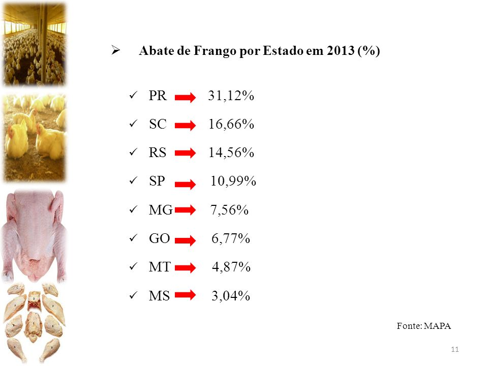 PR 31,12% SC 16,66% RS 14,56% SP 10,99% MG 7,56% GO 6,77% MT 4,87%