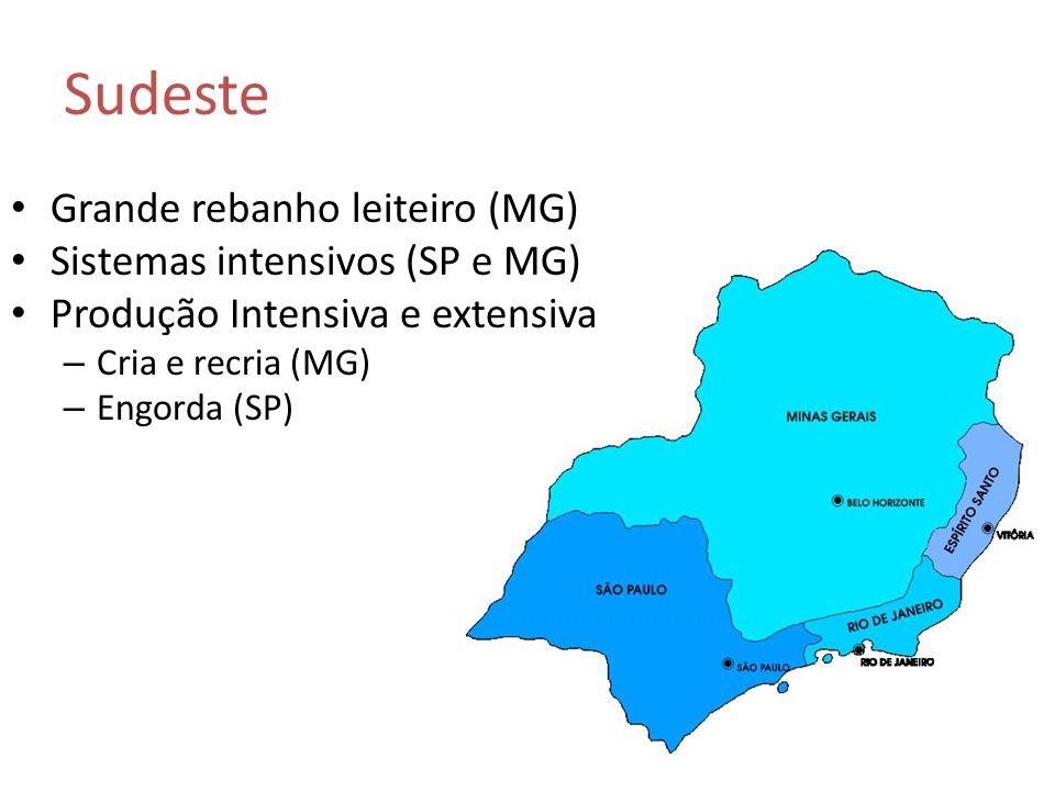Sudeste Grande rebanho leiteiro (MG) Sistemas intensivos (SP e MG)