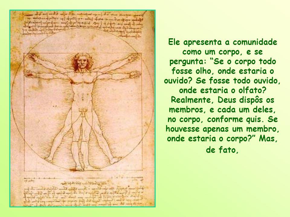 Ele apresenta a comunidade como um corpo, e se pergunta: Se o corpo todo fosse olho, onde estaria o ouvido.