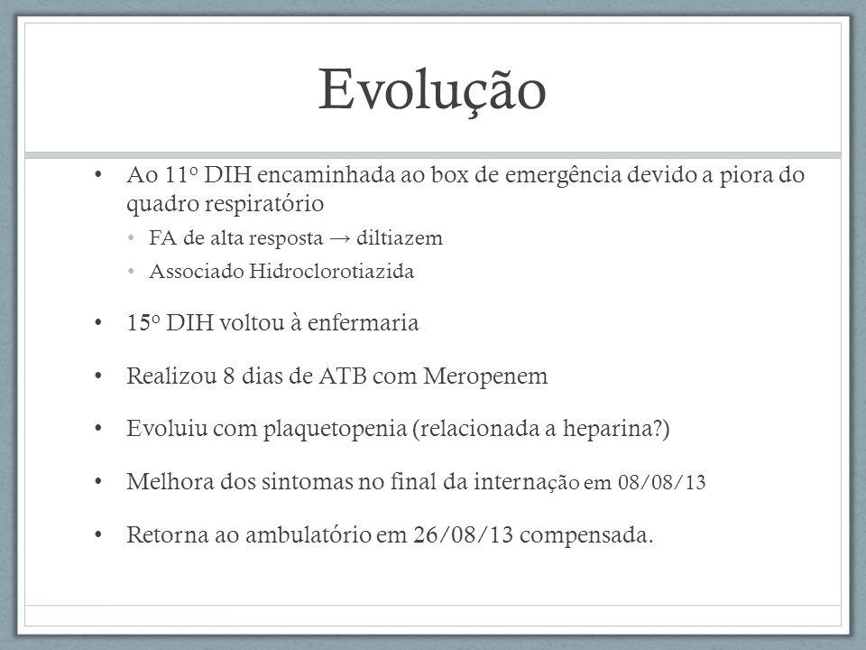 Evolução Ao 11o DIH encaminhada ao box de emergência devido a piora do quadro respiratório. FA de alta resposta → diltiazem.