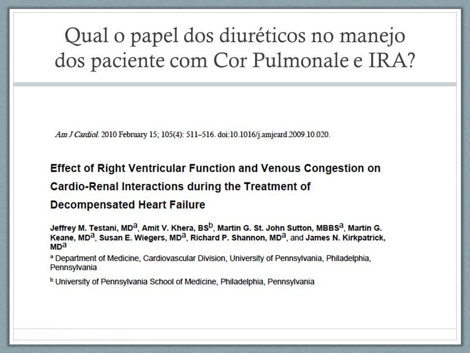 Qual o papel dos diuréticos no manejo dos paciente com Cor Pulmonale e IRA