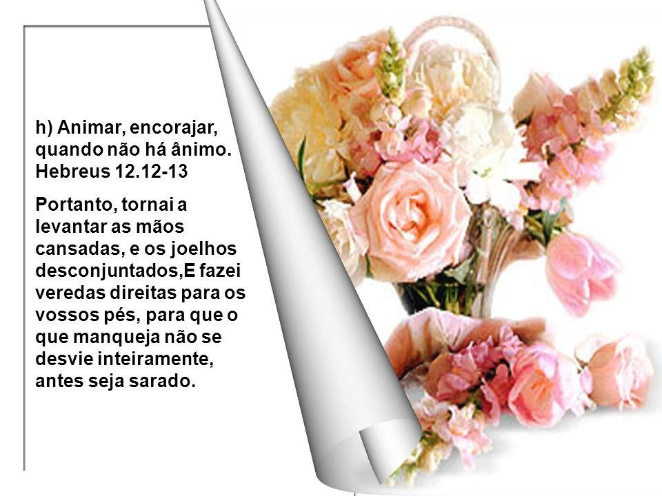 h) Animar, encorajar, quando não há ânimo. Hebreus 12.12-13