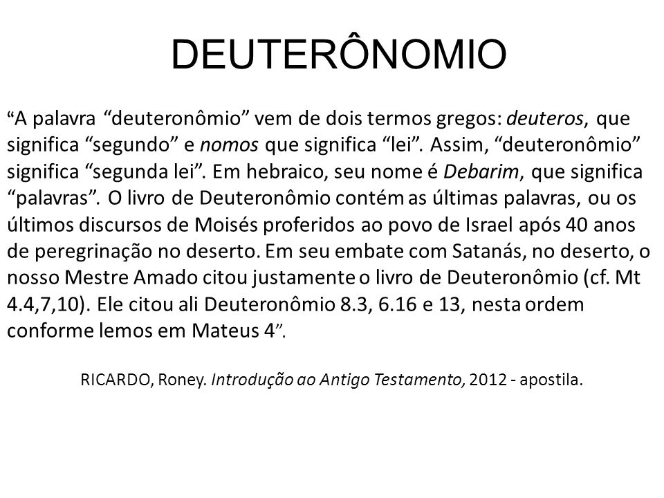 RICARDO, Roney. Introdução ao Antigo Testamento, 2012 - apostila.