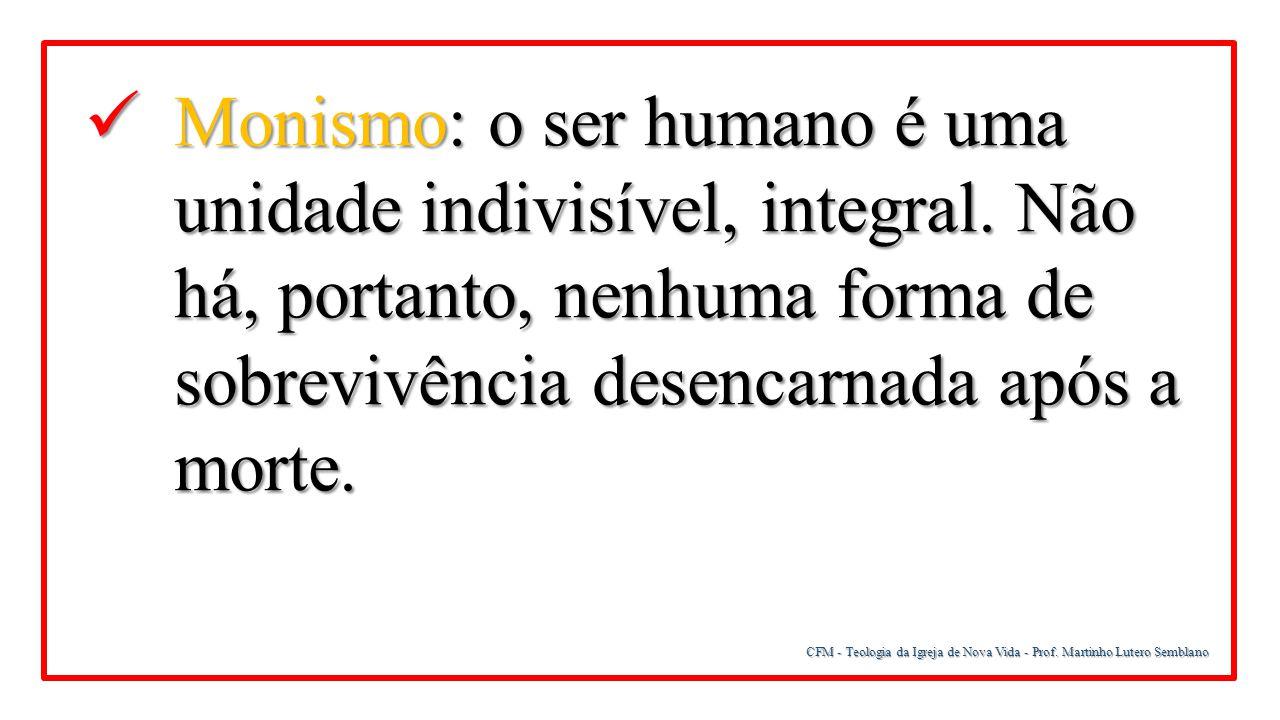 Monismo: o ser humano é uma unidade indivisível, integral