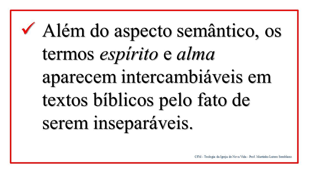 Além do aspecto semântico, os termos espírito e alma aparecem intercambiáveis em textos bíblicos pelo fato de serem inseparáveis.