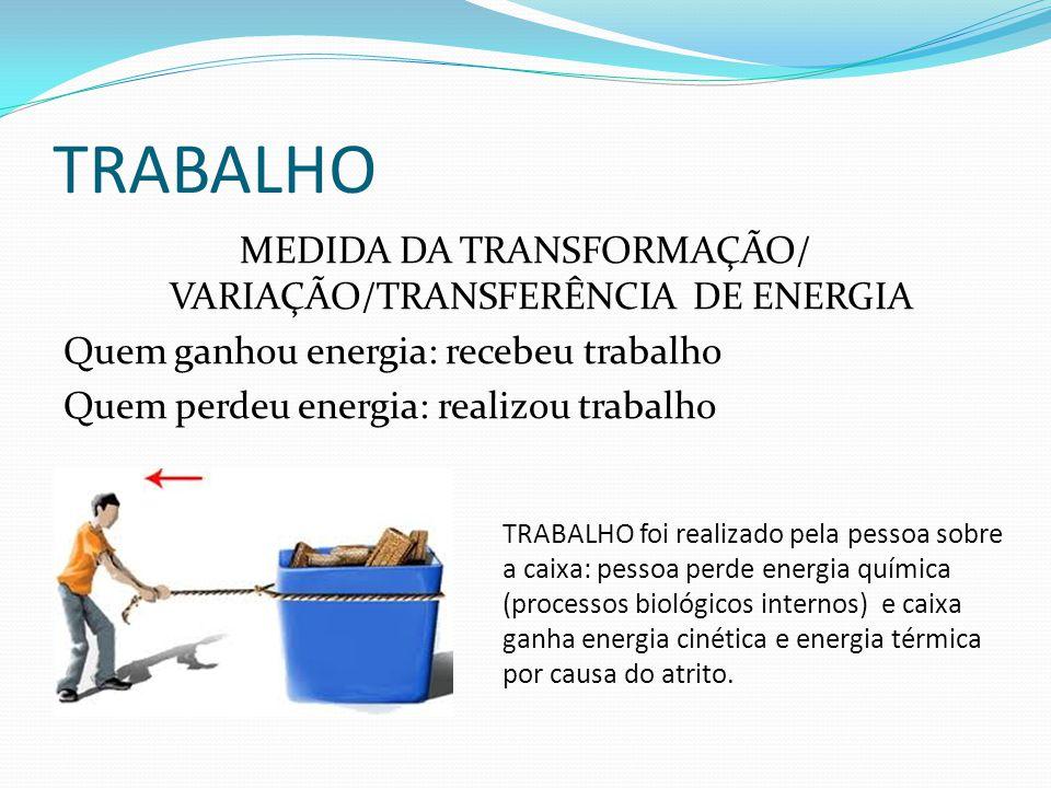TRABALHO MEDIDA DA TRANSFORMAÇÃO/ VARIAÇÃO/TRANSFERÊNCIA DE ENERGIA Quem ganhou energia: recebeu trabalho Quem perdeu energia: realizou trabalho