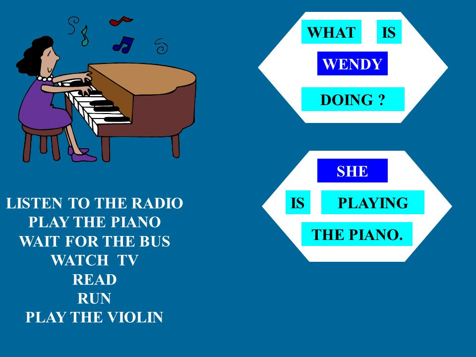 WHAT IS. WENDY. DOING SHE. LISTEN TO THE RADIO. PLAY THE PIANO. WAIT FOR THE BUS. WATCH TV.