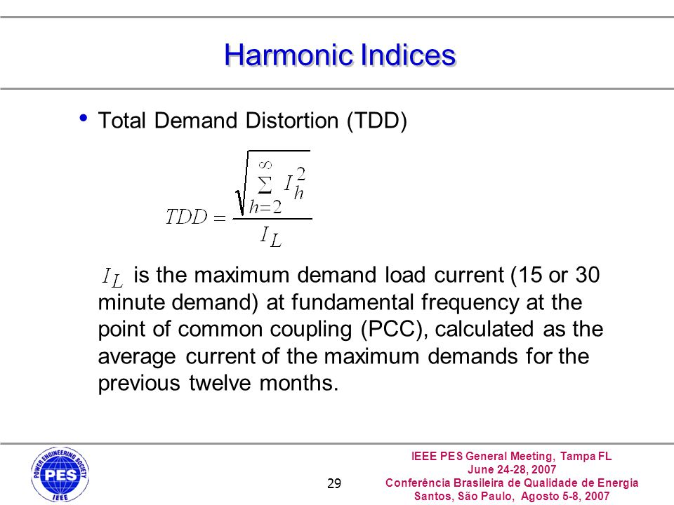 Harmonic Indices Total Demand Distortion (TDD)