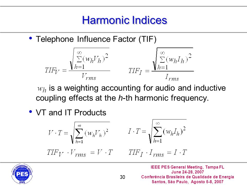 Harmonic Indices Telephone Influence Factor (TIF)