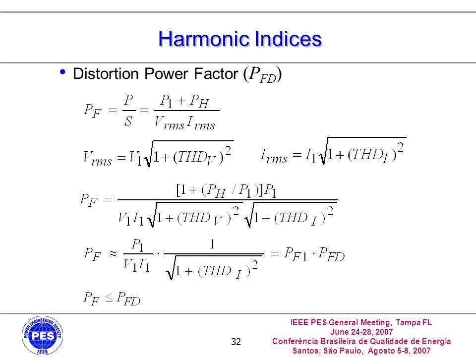 Harmonic Indices Distortion Power Factor (PFD) 中正--電力品質實驗室