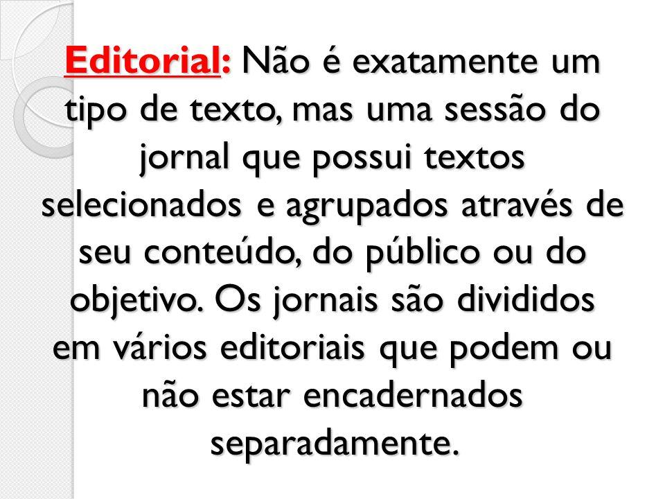 Editorial: Não é exatamente um tipo de texto, mas uma sessão do jornal que possui textos selecionados e agrupados através de seu conteúdo, do público ou do objetivo.