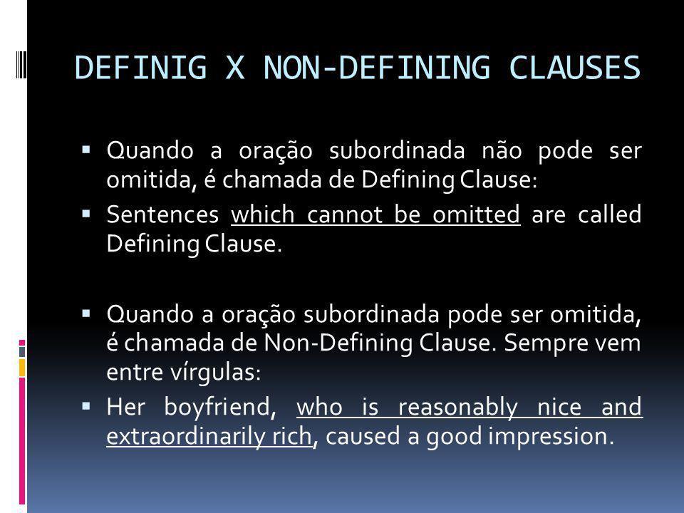 DEFINIG X NON-DEFINING CLAUSES