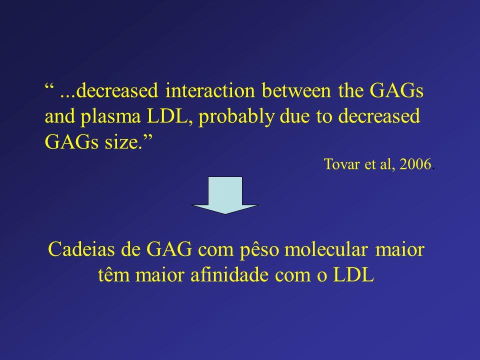 Cadeias de GAG com pêso molecular maior têm maior afinidade com o LDL
