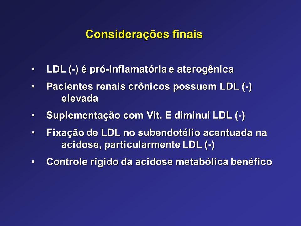 Considerações finais LDL (-) é pró-inflamatória e aterogênica