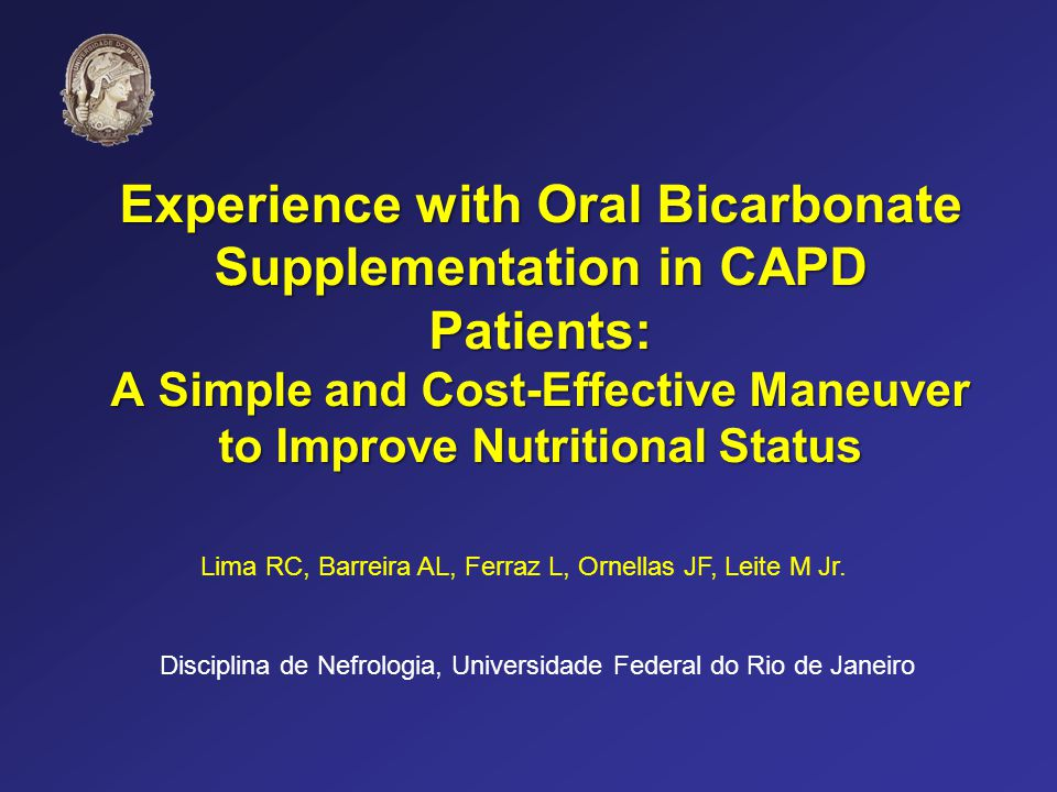 Experience with Oral Bicarbonate Supplementation in CAPD Patients: A Simple and Cost-Effective Maneuver to Improve Nutritional Status