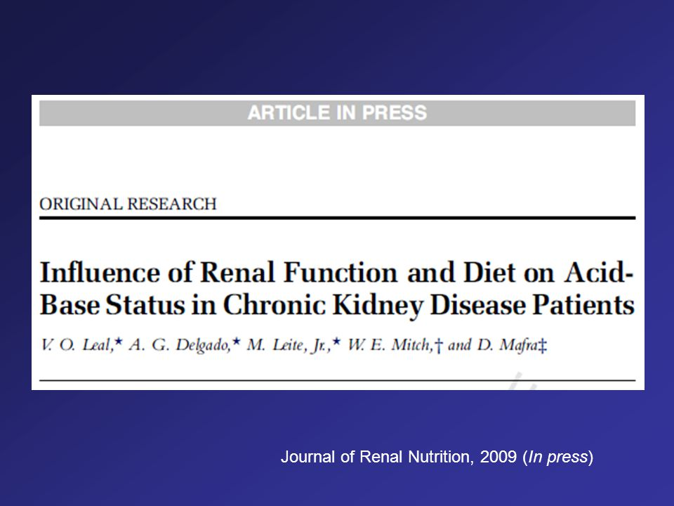 Journal of Renal Nutrition, 2009 (In press)