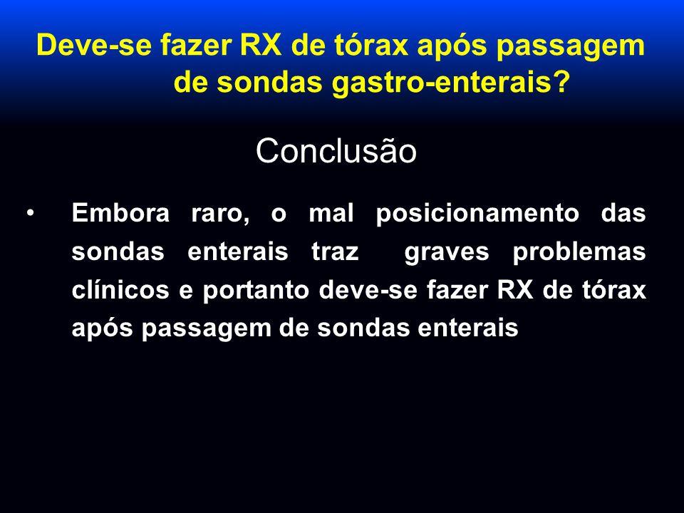 Deve-se fazer RX de tórax após passagem de sondas gastro-enterais