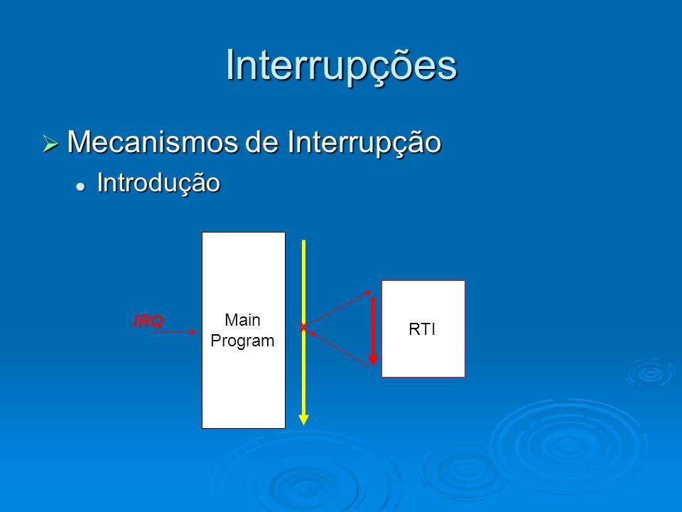 Interrupções Mecanismos de Interrupção Introdução Main Program RTI IRQ