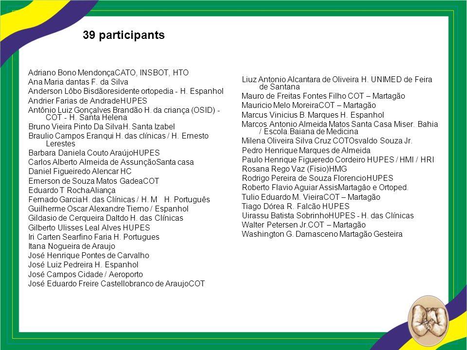 39 participants Adriano Bono MendonçaCATO, INSBOT, HTO