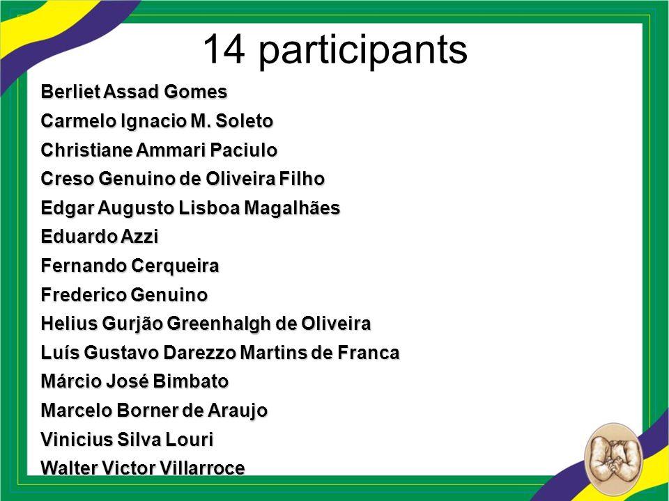 14 participants Berliet Assad Gomes Carmelo Ignacio M. Soleto