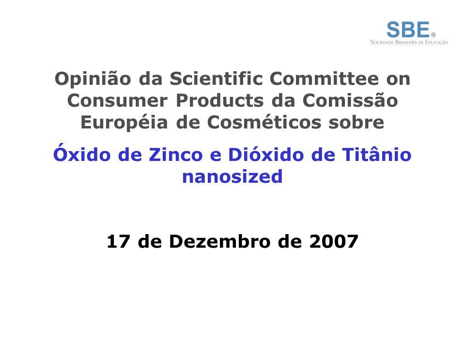 Óxido de Zinco e Dióxido de Titânio nanosized
